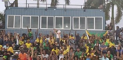 Fans at Ansin Park Sports Complex in Miramar on show their support and cheer on the Reggae Girlz