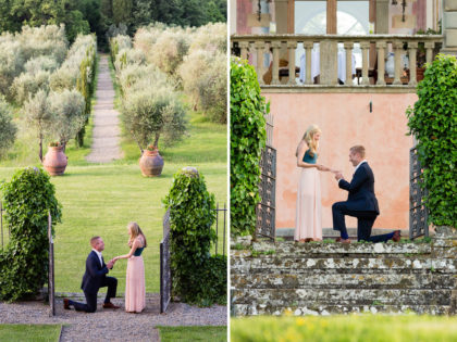 Surprise Marriage Proposal in Florence |Engagement photo session in Villa Mangiacane