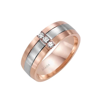 Two-toned Comfort Fit wedding band with satin finish and diamond detail