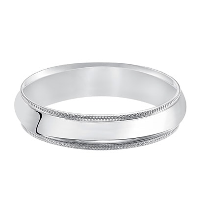 Low-dome band, high polished finish with delicate milgrain detailing for a traditional look