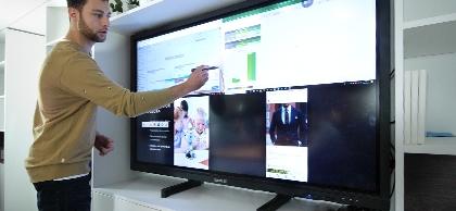 support ecran interactif sur pieds
