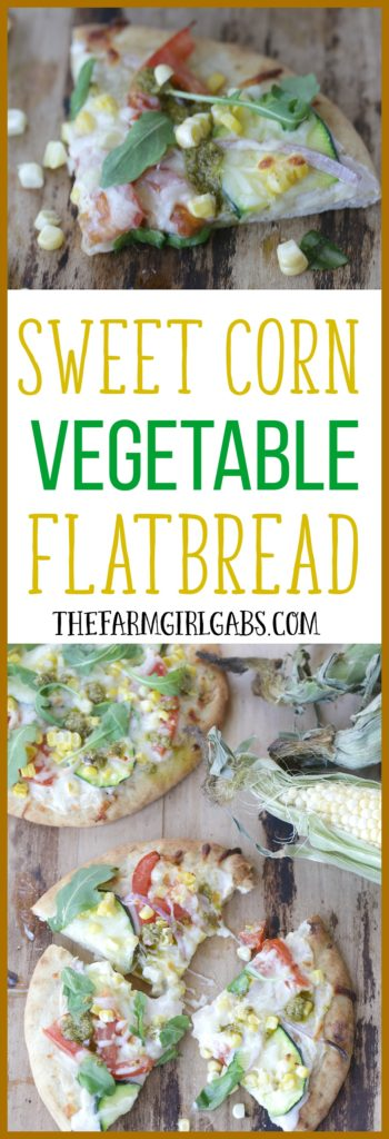 This delicious Sweet Corn Vegetable Flatbread made with fresh corn from Florida makes the perfect snack, meal or party dish! #Ad #SunshineSweetCorn