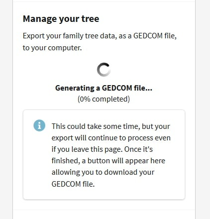 This image shows the Ancestry site creating a Gedcom file from my family tree.