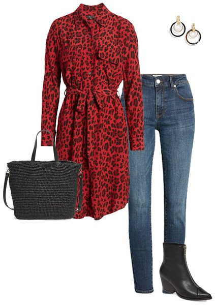 animal print shirtdress and jeans | 40plusstyle.com