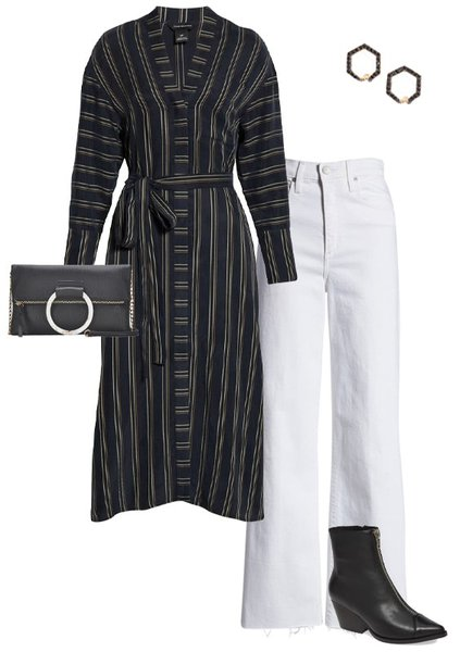 a striped shirtdress and white jeans | 40plusstyle.com