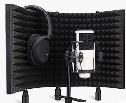 microphone with isolation shield and headphone