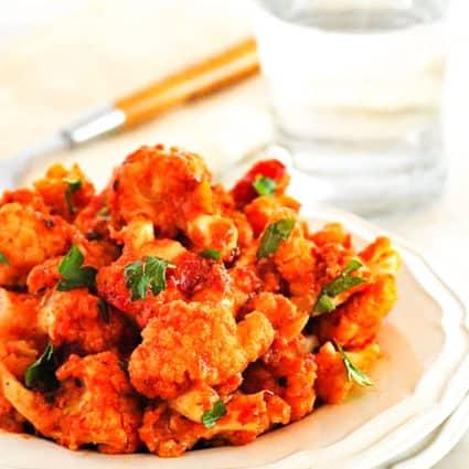 Roasted Cauliflower in Spicy Marinara Sauce