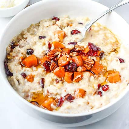 Sweet Potato Oatmeal with Pecans and Cranberries