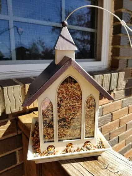 Church shaped bird feeder