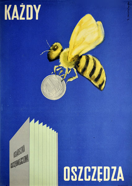 Oryginalny plakat reklamujący oszczędzanie w PKO na książeczce oszczędnościowej. Projekt: ZENON JANUSZEWSKI