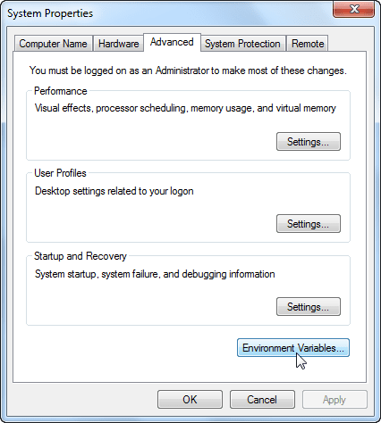 Windows 7 - Environment Variables