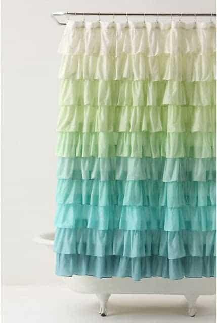 Ruffle shower curtain over bathtub