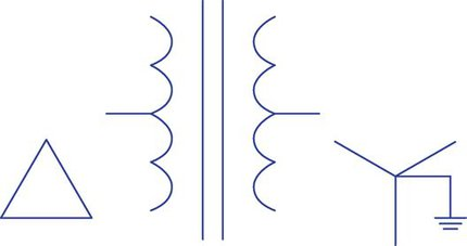 Symbol for showing three-phase transformer and connection configuration.