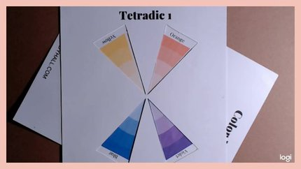 tetrad color scheme of yellow, violet, blue, orange on color wheel