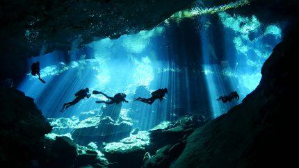 Scuba diving in the cenotes of Yucatan