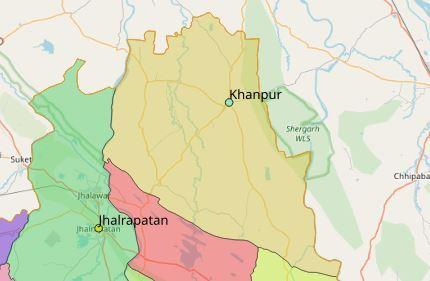 Map of Khanpur City in Jhalawar District, Rajasthan, India