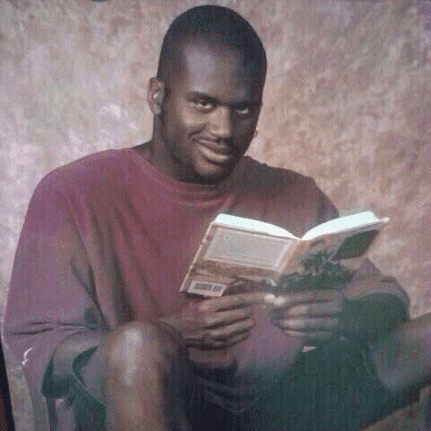 shaq reading book meme template