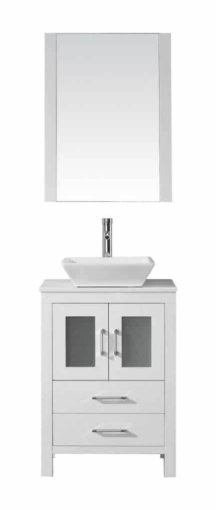 Virtu USA KS-70024-S-WH Modern 24-Inch Single Sink Bathroom Vanity Set with Polished Chrome Faucet, White