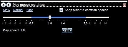 Windows Media Player speed settings slider.