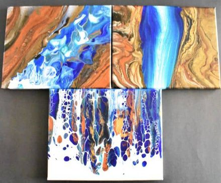 three complete acrylic pour waterfall paintings