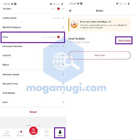 Cara Verifikasi Email di LinkAja
