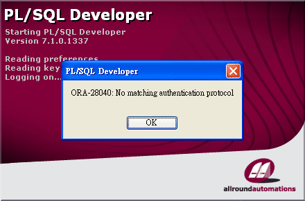 ORA-28040 in PL/SQL Developer