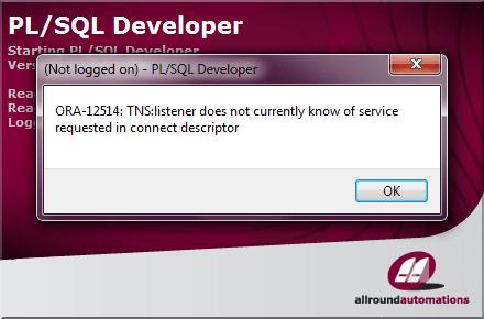 ORA-12514 in PL/SQL Developer
