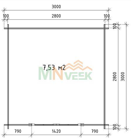 Caseta de Jardín CLARA1 3000mm x 3000mm 28mm Grosor de la Madera PLANO MNVEEK
