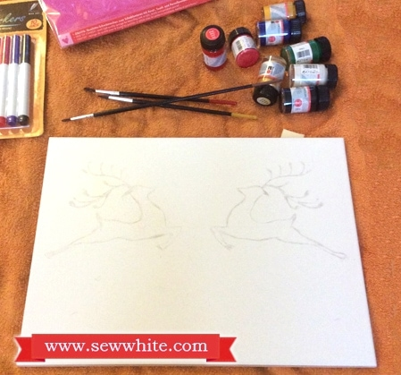 Sew White Christmas tile painting 3