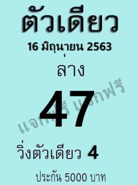 เลขเด็ดหวยตัวเดียว 16/6/63