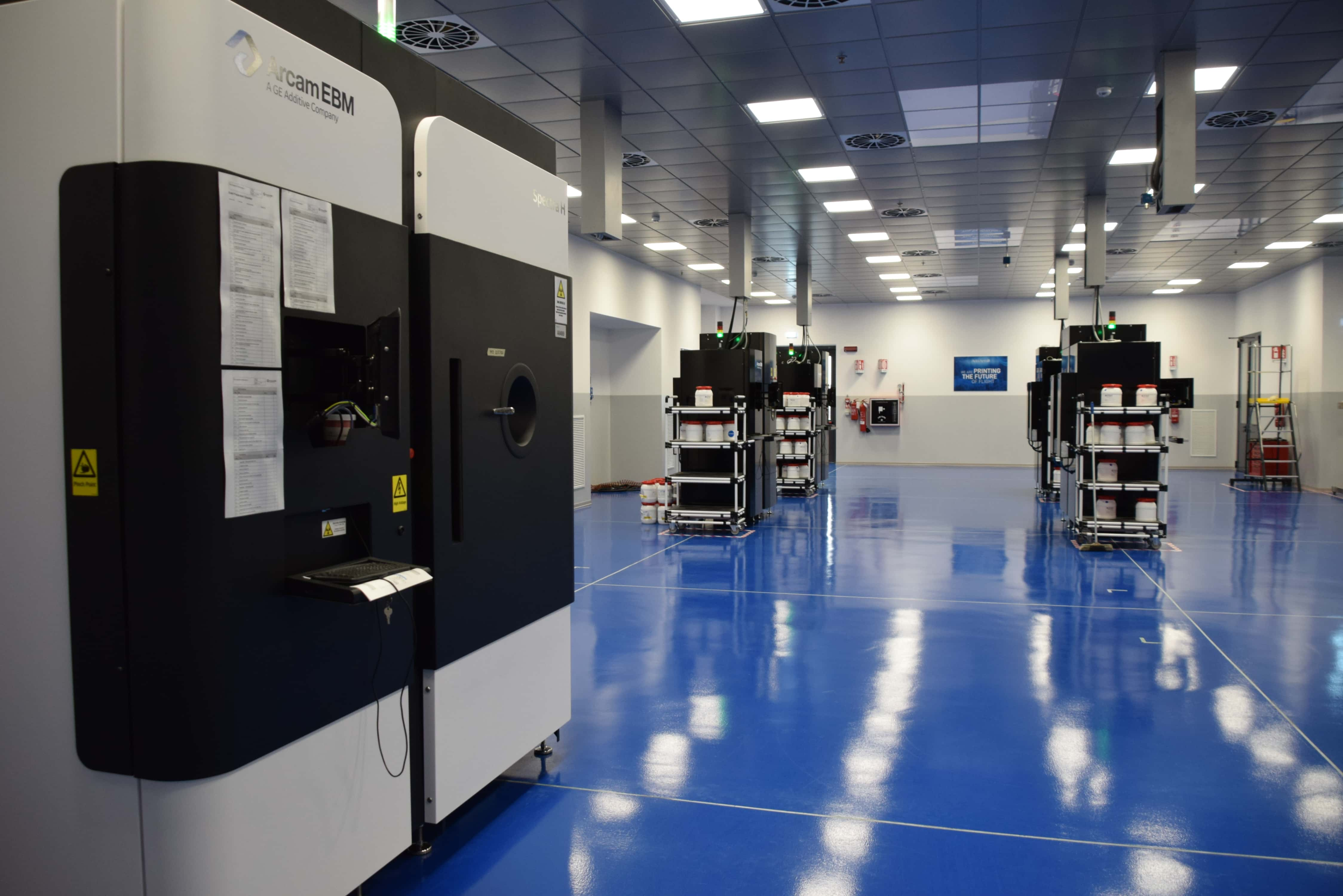 Avio Aero, a GE Aviation company, prints some of the GE9X components on Arcam machines at its additive manufacturing factory in Cameri, Italy. Image credit: Avio Aero.