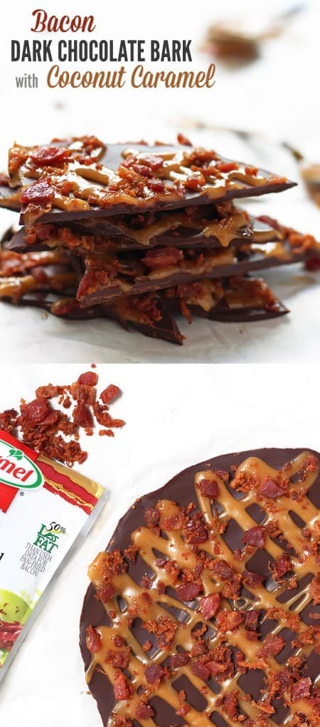 Bacon Dark Chocolate Bark with Coconut Caramel - perfect to satisfy both sweet & salty snack cravings, gluten free, paleo friendly
