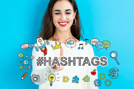 Hashtags young woman on a blue background