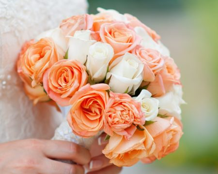 Biedermeier Bouquet of orange and white flowers