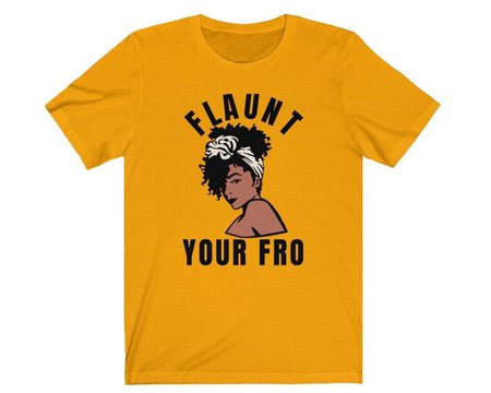 curly hair gift set, Afro woman tshirt. Afrocentric