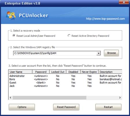 De interface van PcUnlocker.