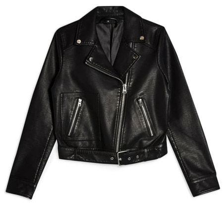 Cropped faux leather jacket | 40plusstyle.com