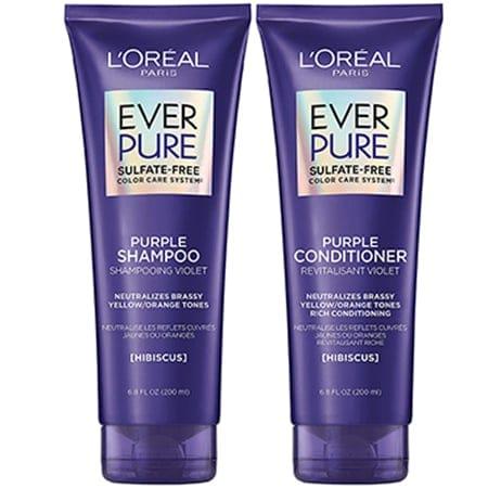 L'Oreal Paris EverPure Brass Toning Purple Shampoo and Conditioner Kit | 40plusstyle.com
