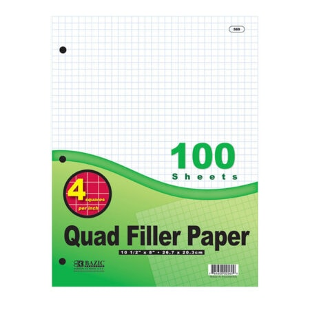 Cheap quad ruled filler paper