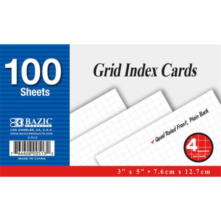 Cheap index cards, quad ruled
