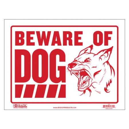 cheap plastic beware of dog sign