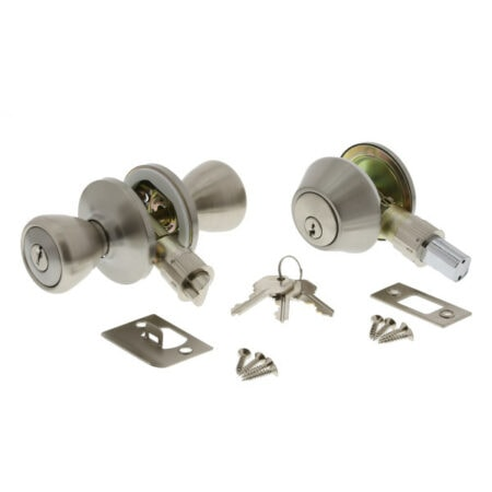 Entry Door Lock Set, Deadbolt, Stainless Steel