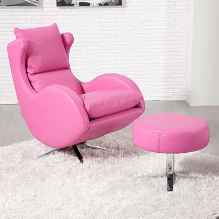Fama Lenny pink leather swivel chair