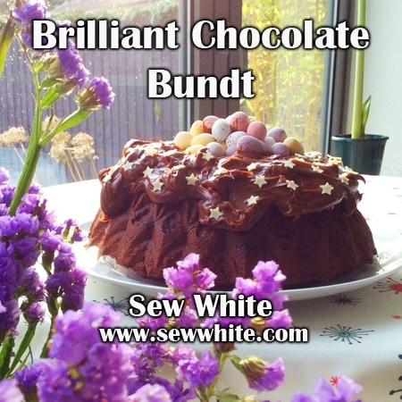 Brilliant chocolate bundt cake on the table ready to be served
