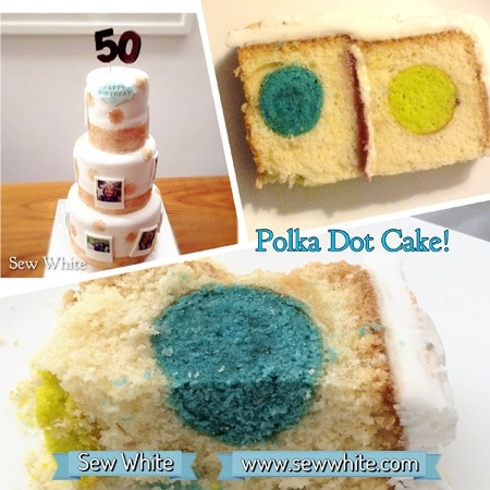Sew White Polka Dot birthday cake 8