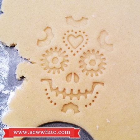 Stamped design in the Day of the Dead biscuits