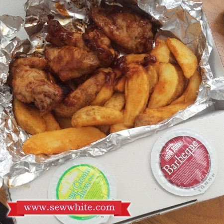 Side dishes of chicken and chips