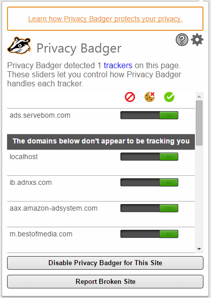 Privacy Badger in action, counting the trackers it has detected