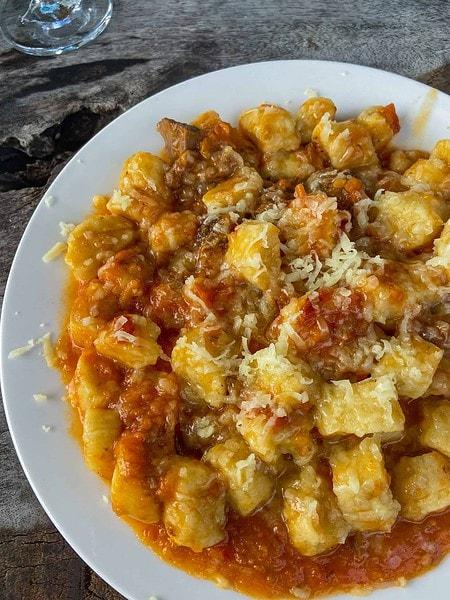 Gnocchi with ragu sauce at Ciao