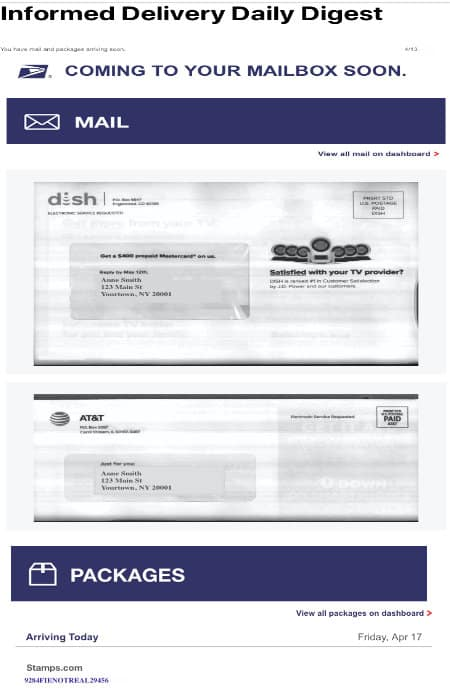 screenshot of usps mail delivery notification